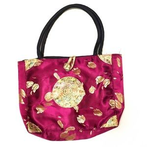 VTG 90s Chinoiserie purse, silky embroidery tote